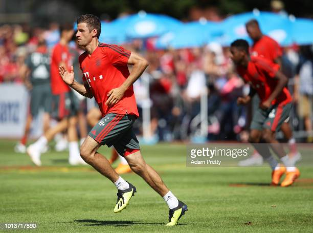 Thomas Mueller of Bayern Munich in action during FC Bayern Muenchen pre season training on August 9, 2018 in Rottach-Egern, Germany.