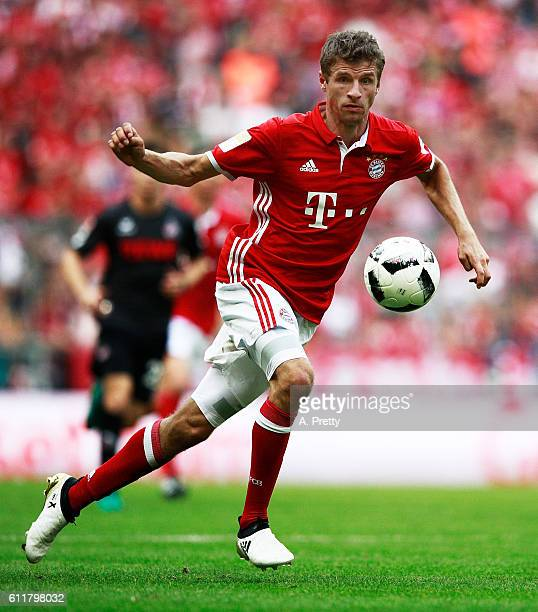 Thomas Mueller of Bayern Munich in action during the Bundesliga match between Bayern Muenchen and 1 FC Koeln at Allianz Arena on October 1 2016 in...