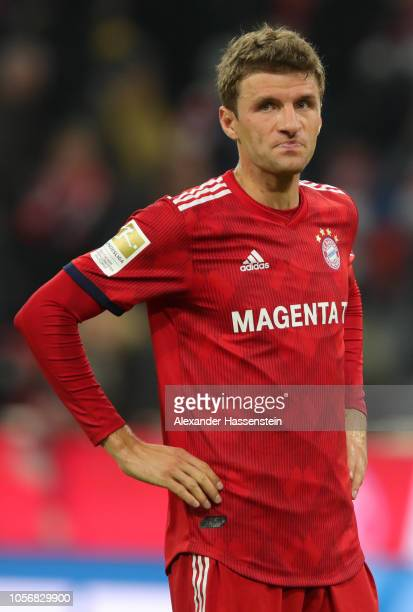 Thomas Mueller of Bayern Munich reacts after the Bundesliga match between FC Bayern Muenchen and SportClub Freiburg at Allianz Arena on November 3...