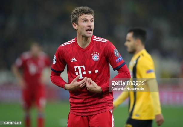 Thomas Mueller of Bayern Munich reacts during the Group E match of the UEFA Champions League between AEK Athens and FC Bayern Muenchen at Athens...