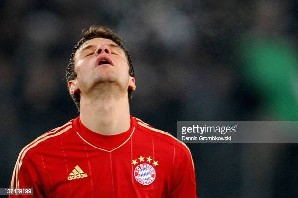 Thomas Mueller of Bayern reacts after the Bundesliga match between Borussia Moenchengladbach and FC Bayern Muenchen at Borussia Park Stadium on...