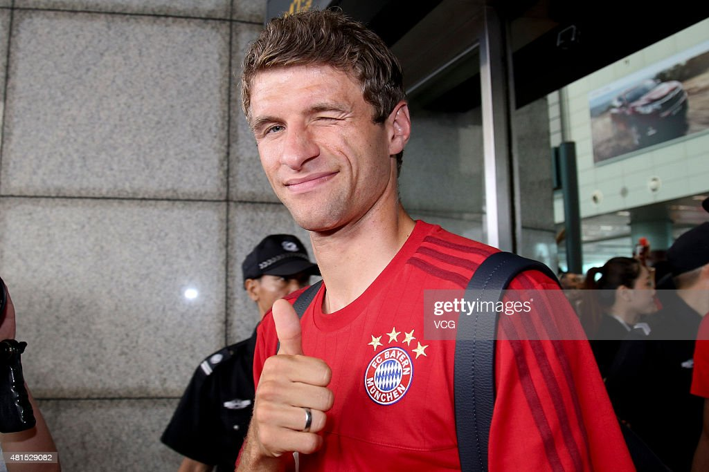 Thomas Mueller of FC Bayern Muenchen arrives at airport on July 22, 2015 in Guangzhou, China.
