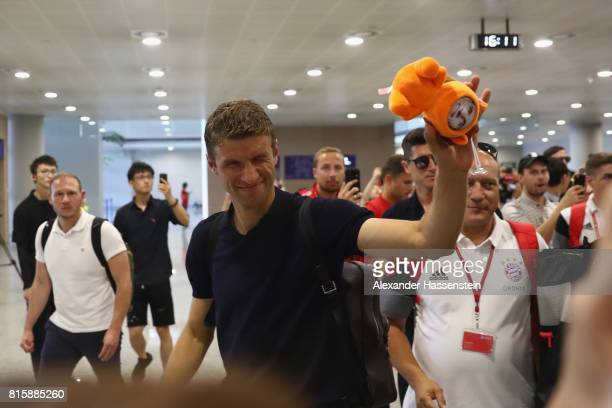 Thomas Mueller of FC Bayern Muenchen arrives with the team at Shanghai Pudong International Airport for the Audi Summer Tour 2017 on July 17 2017 in...