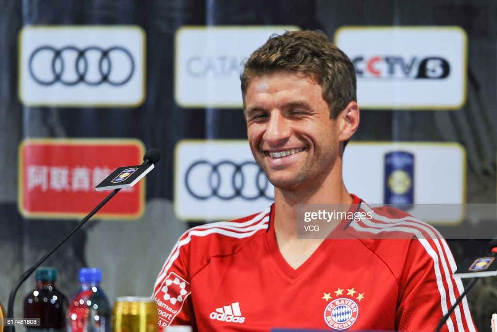 Thomas Mueller of FC Bayern Muenchen attends a press conference at Shanghai Stadium ahead of 2017 International Champions Cup China on July 18, 2017 in Shanghai, China.