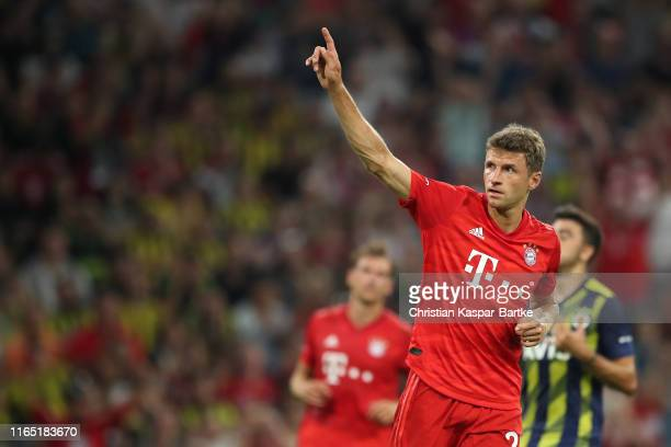 Thomas Mueller of FC Bayern Muenchen celebrates after scoring his team's fifth goal during the Audi cup 2019 semi final match between FC Bayern...