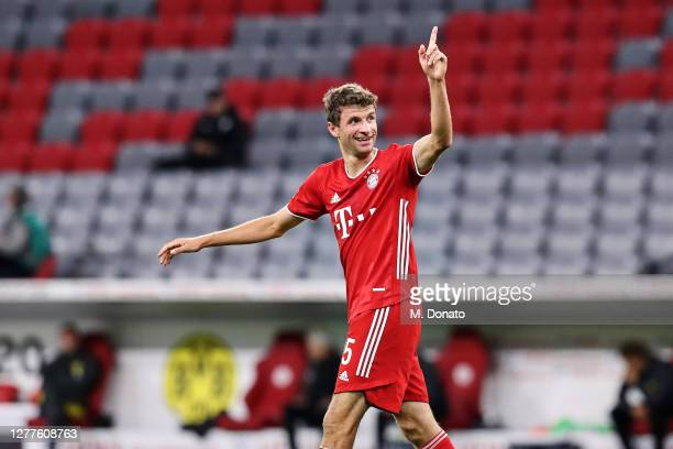 Thomas Mueller of FC Bayern Muenchen celebrates after scoring his team's second goal during the Supercup 2020 match between FC Bayern München and...
