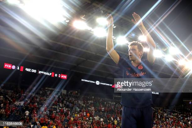 Thomas Mueller of FC Bayern Muenchen celebrates after the 2019 International Champions Cup match between FC Bayern and AC Milan at Children`s Mercy...