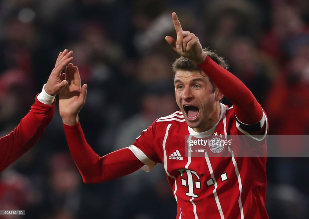 Thomas Mueller of FC Bayern Muenchen celebrates his second goal during the Bundesliga match between FC Bayern Muenchen and Werder Bremen at Allianz Arena on January 21, 2018 in Munich, Germany. Mueller scored his 100th goal in total for the club.
