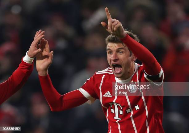 Thomas Mueller of FC Bayern Muenchen celebrates his second goal during the Bundesliga match between FC Bayern Muenchen and Werder Bremen at Allianz...