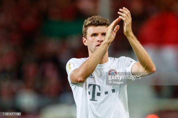 Thomas Mueller of FC Bayern Muenchen gestures after the DFB Cup first round match between Energie Cottbus and FC Bayern Muenchen at Stadion der...