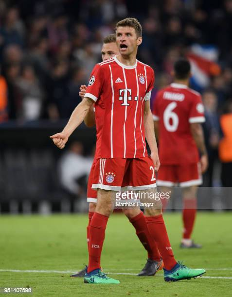 Thomas Mueller of FC Bayern Muenchen gestures during the UEFA Champions League Semi Final First Leg match between Bayern Muenchen and Real Madrid at...