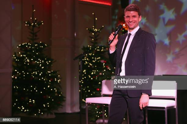 Thomas Mueller of FC Bayern Muenchen holds a speech during the FC Bayern Muenchen Christmas Party 2017 at Palais Lenbach on December 9 2017 in Munich...