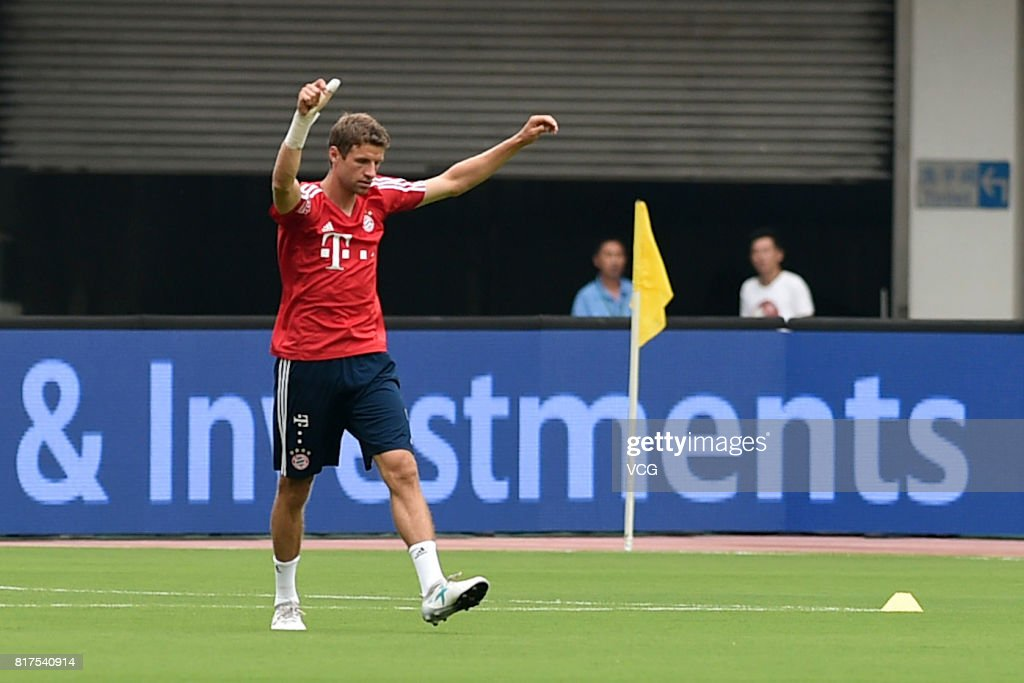 Thomas Mueller of FC Bayern Muenchen in action during a training session ahead of 2017 International Champions Cup China between FC Bayern Muenchen and Arsenal at Shanghai Stadium on July 18, 2017 in Shanghai, China.