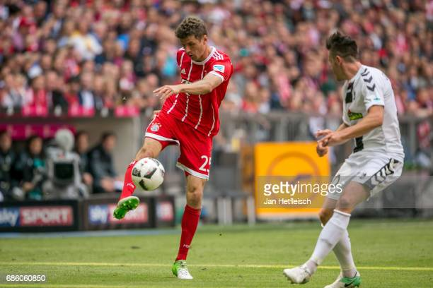 Thomas Mueller of FC Bayern Muenchen in action during the Bundesliga match between Bayern Muenchen and SC Freiburg at Allianz Arena on May 20 2017 in...