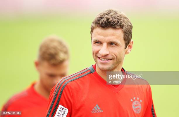 Thomas Mueller of FC Bayern Muenchen in action during training at Saebenerstr training grounds on August 30 2018 in Munich Germany