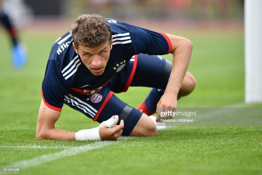 Thomas Mueller of FC Bayern Muenchen leans on his arm during the preseason friendly match between FSV Erlangen-Bruck and Bayern Muenchen at Adi Dassler Sportplatz on July 9, 2017 in Herzogenaurach, Germany.