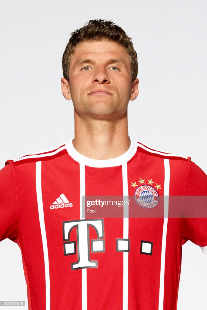 Thomas Mueller of FC Bayern Muenchen poses during the team presentation at Allianz Arena on August 8, 2017 in Munich, Germany.