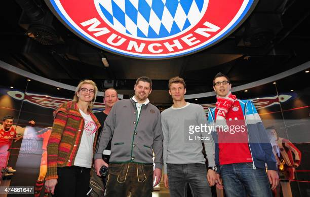 Thomas Mueller of FC Bayern Muenchen poses for a photo during a Meet Greet with fans on February 24 2014 in Munich Germany