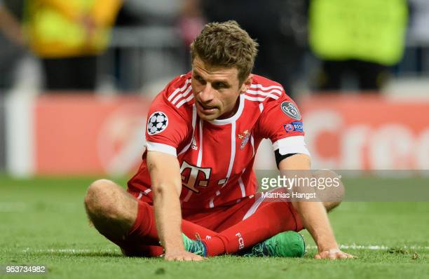 Thomas Mueller of FC Bayern Muenchen shows his disappointment after the UEFA Champions League Semi Final Second Leg match between Real Madrid and...