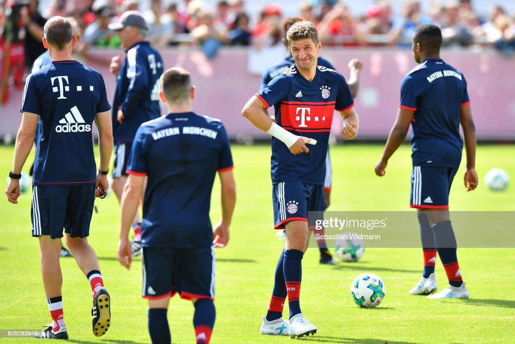 Thomas Mueller of FC Bayern Muenchen smiles during a training session at Saebener Strasse training ground on July 1, 2017 in Munich, Germany.