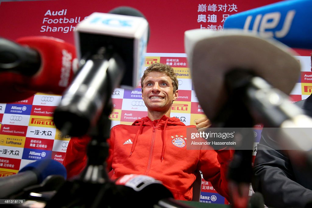 Thomas Mueller of FC Bayern Muenchen talks to the media during a press conference at Shanghai Stadium on day 3 of the FC Bayern Audi China Summer Pre-Season Tour on July 19, 2015 in Shanghai, China.