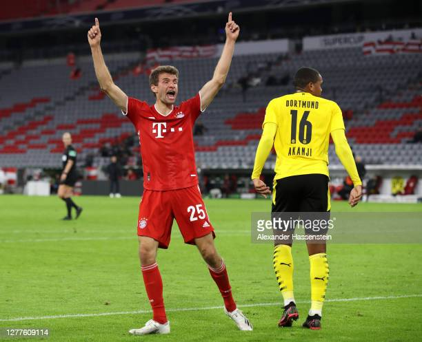 Thomas Mueller of FC Bayern Munich celebrates after scoring his sides second goal during the Supercup 2020 match between FC Bayern Muenchen and...