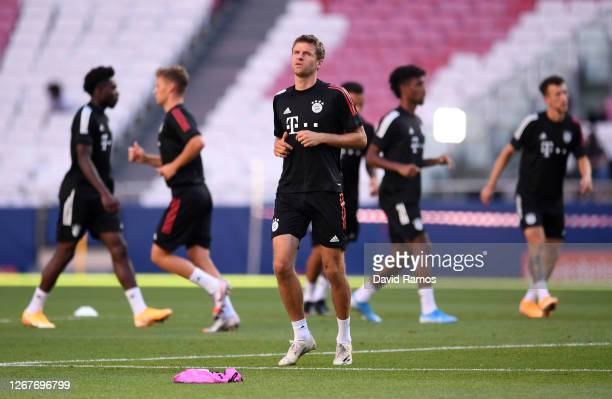 Thomas Mueller of FC Bayern Munich in action during a training session ahead of their UEFA Champions League Final match against Paris Saint-Germain...