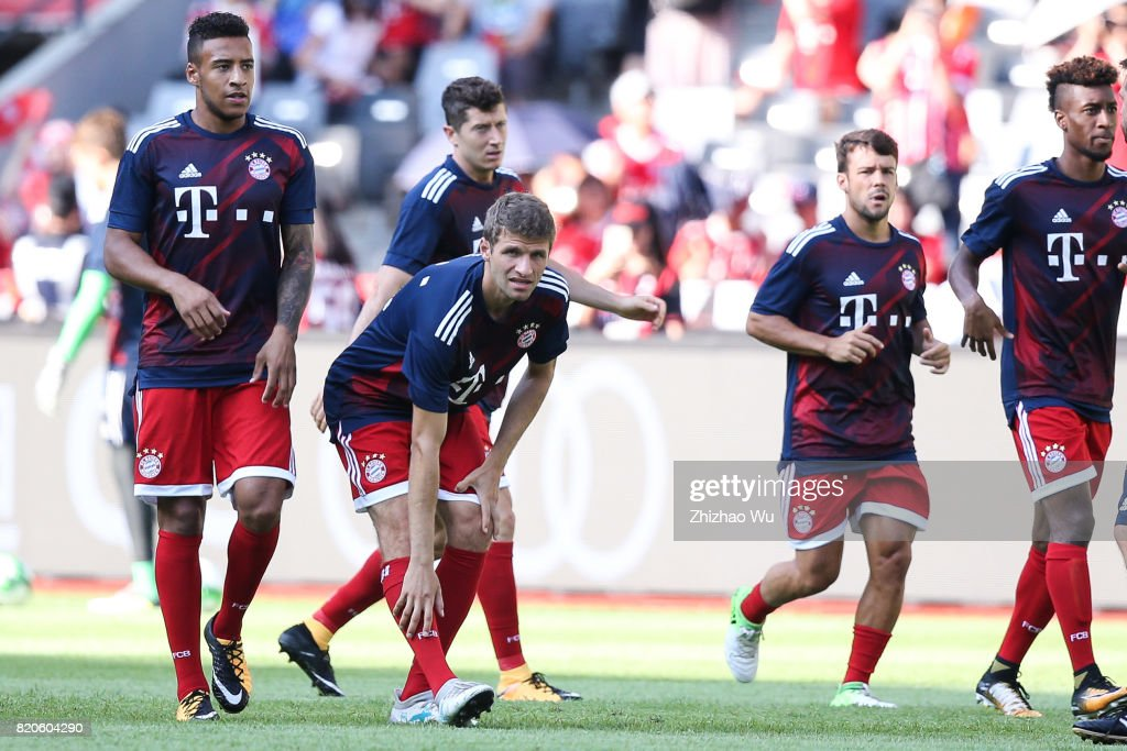 Thomas Mueller of FC Bayern was warming up during the 2017 International Champions Cup China match between FC Bayern and AC Milan at Universiade Sports Centre Stadium on July 22, 2017 in Shenzhen, China.