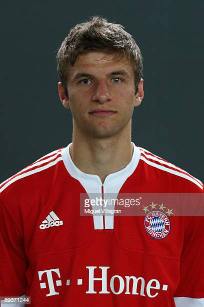 Thomas Mueller of German Bundesliga first division soccer club Bayern Muenchen poses for a picture during the team presentation for the upcoming...