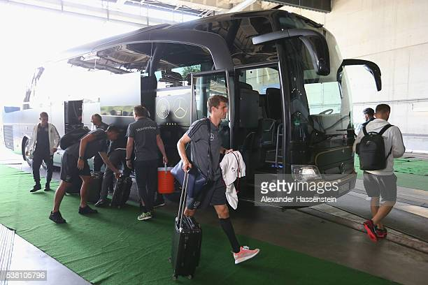 Thomas Mueller of Germany arrives with the team bus prior to the international friendly match between Germany and Hungary at VeltinsArena on June 4...