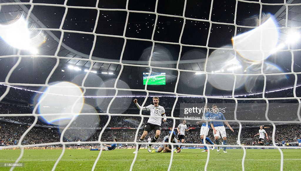 Thomas Mueller of Germany celebrates after Jonas Hector of Germany scored the third goal for Germany during the International Friendly match between Germany and Italy at Allianz Arena on March 29, 2016 in Munich, Germany.