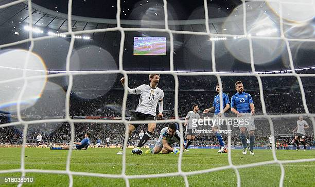 Thomas Mueller of Germany celebrates after Jonas Hector of Germany scored the third goal for Germany during the International Friendly match between...