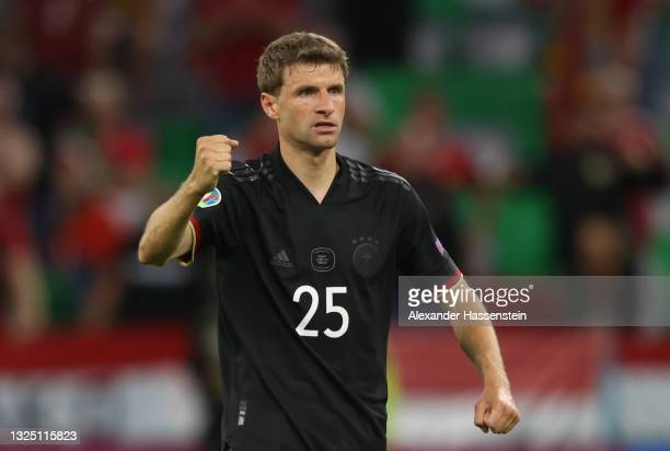 Thomas Mueller of Germany celebrates after the UEFA Euro 2020 Championship Group F match between Germany and Hungary at Allianz Arena on June 23,...