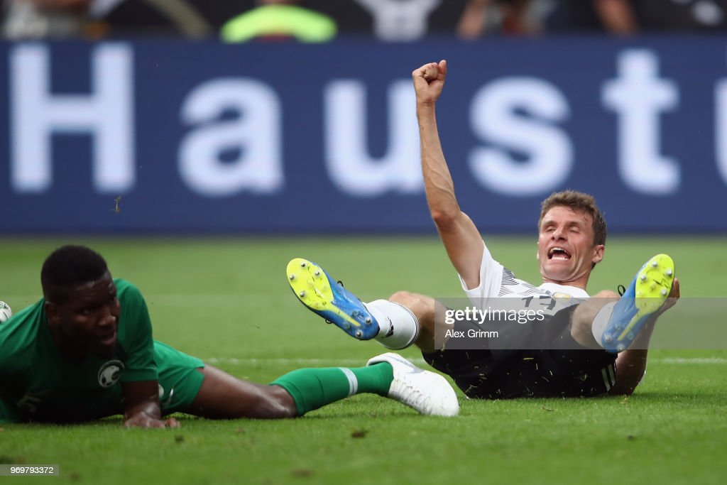 Thomas Mueller of Germany celebrates his team's second goal during the international friendly match between Germany and Saudi Arabia ahead of the FIFA World Cup Russia 2018 at BayArena on June 8, 2018 in Leverkusen, Germany.