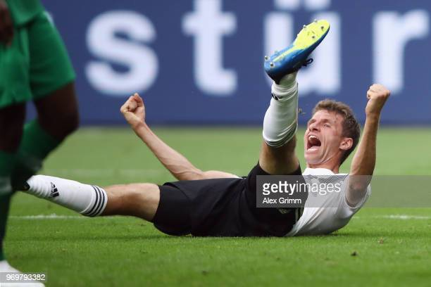 Thomas Mueller of Germany celebrates his team's second goal during the international friendly match between Germany and Saudi Arabia ahead of the...