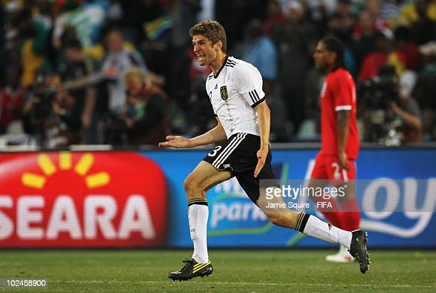Thomas Mueller of Germany celebrates scoring during the 2010 FIFA World Cup South Africa Round of Sixteen match between Germany and England at Free...