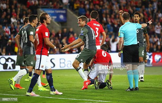 Thomas Mueller of Germany celebrates scoring the opening goal during the 2018 FIFA World Cup Qualifier Group C match between Norway and Germany at...