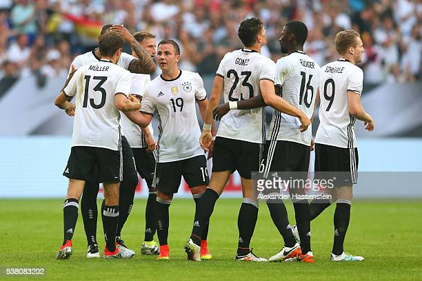 Thomas Mueller of Germany celebrates the 2nd team goal with his team mates during the international friendly match between Germany and Hungary at...
