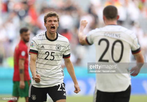 Thomas Mueller of Germany celebrates their side's third goal scored by team mates Kai Havertz during the UEFA Euro 2020 Championship Group F match...