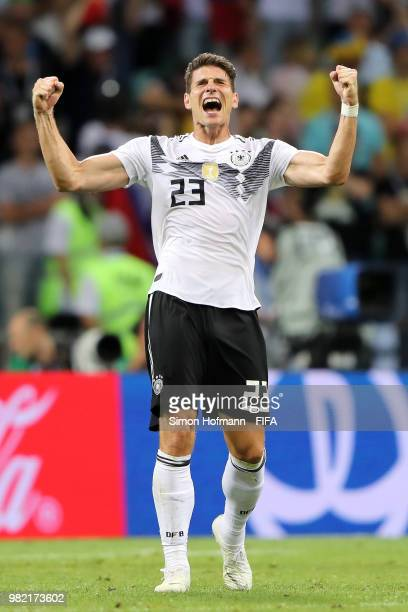 Thomas Mueller of Germany celebrates victory following the 2018 FIFA World Cup Russia group F match between Germany and Sweden at Fisht Stadium on...