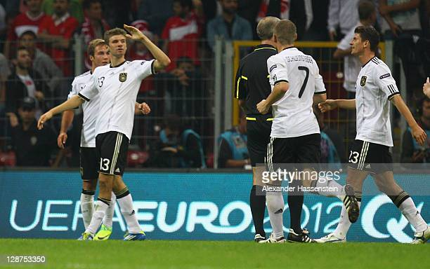 Thomas Mueller of Germany celebrtaes scoring the second team goal during the UEFA EURO 2012 Group A qualifying match between Turkey and Germany at...