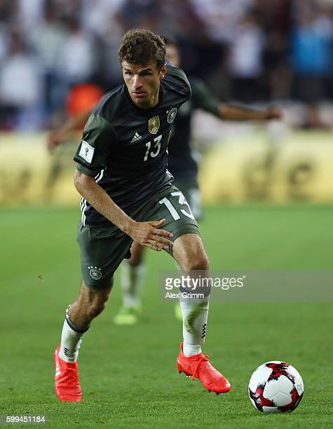 Thomas Mueller of Germany controles the ball during the 2018 FIFA World Cup Qualifier Group C match between Norway and Germany at Ullevaal Stadium on...