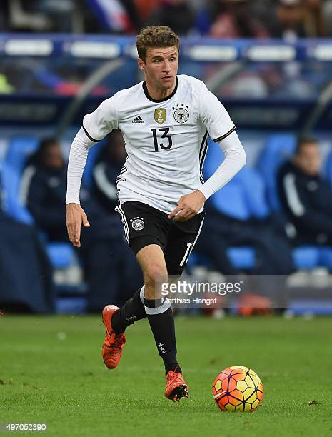 Thomas Mueller of Germany controls the ball during the International Friendly match between France and Germany at the Stade de France on November 13...
