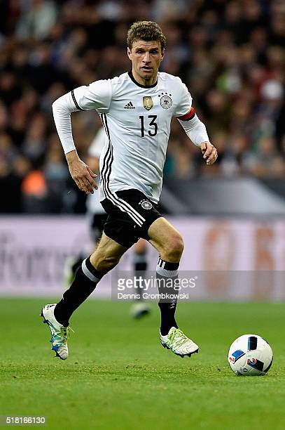 Thomas Mueller of Germany controls the ball during the International Friendly match between Germany and Italy at Allianz Arena on March 29 2016 in...