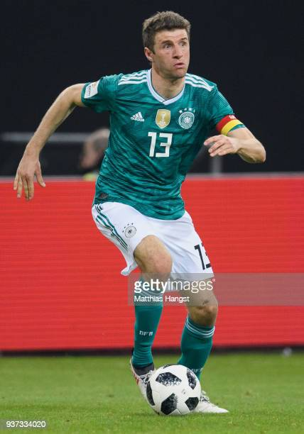 Thomas Mueller of Germany controls the ball during the international friendly match between Germany and Spain at EspritArena on March 23 2018 in...