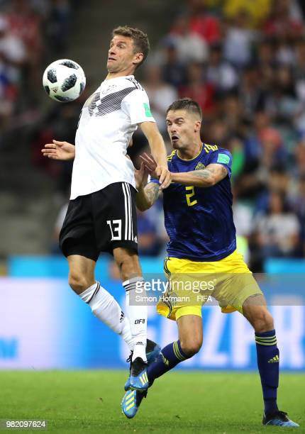 Thomas Mueller of Germany controls theball under pressure from Mikael Lustig of Sweden during the 2018 FIFA World Cup Russia group F match between...