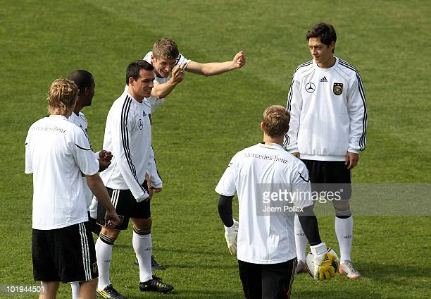 Thomas Mueller of Germany gestures during a training session at Super stadium on June 10 2010 in Johannesburg South Africa