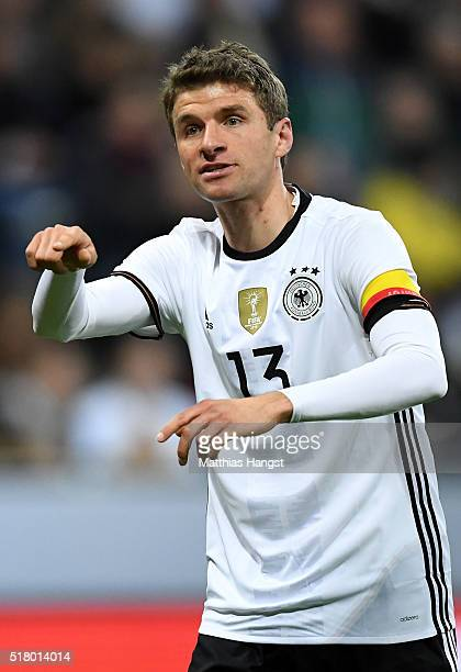 Thomas Mueller of Germany gestures during the International Friendly match between Germany and Italy at Allianz Arena on March 29 2016 in Munich...