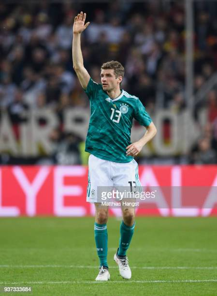 Thomas Mueller of Germany gestures during the international friendly match between Germany and Spain at EspritArena on March 23 2018 in Duesseldorf...