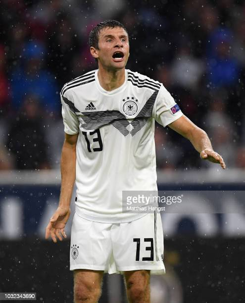 Thomas Mueller of Germany gestures during the UEFA Nations League group A match between Germany and France at Allianz Arena on September 06 2018 in...